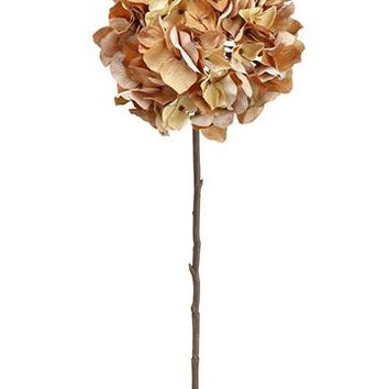 "Tan & Amber Brown Oversized Fall Silk Hydrangea - 30"" Tall x 8"" Bloom"