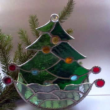 Christmas Tree Sweet Box. Mobile. Christmas surprise box. Winter. Stained Glass Box. Handmade. Home decor. DizArtEx.