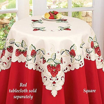Embroidered Red Strawberry Lacy Table Square