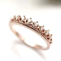 Tiara Ring detailed with CZ in 3 colors
