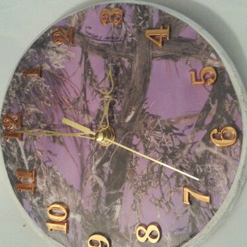 RealTree / True Timber Camo Round Rustic Country Bullet Clock. Choose from 22 colors.