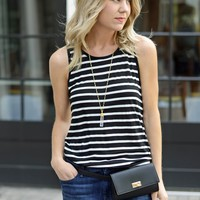 Black and White Striped Cotton Tank - BB Dakota Codie Tank - $57.00 | Hand In Pocket Boutique