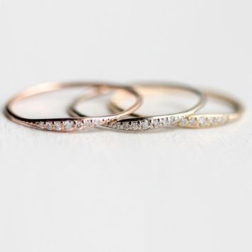 Women's Fashion Exquisite Small 14K Tiny Baguette Diamond Ring Rose Gold Solid Gold White Gold Stacking Ring Dainty Ring Stackab