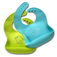 Waterproof Silicone Bib Easily Wipes Clean! Comfortable Soft Baby Bibs Keep Stains Off! Spend Less Time Cleaning after Meals with Babies or Toddlers! Set of 2 Colors (Lime Green / Turquoise)