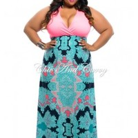 New Plus Size Dress Maxi with Mock Halter & Closed Back in Pink and Multi Blue Print Design 1x 2x 3x