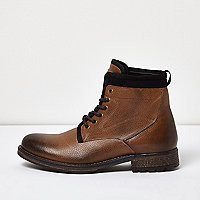 Brown leather textile lined boots - boots - shoes / boots - men