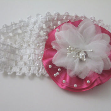 Handmade Elastic Headband Newborn and Infants, Pink and White Flower with Pearls, Perfect Gift for Shower, Welcome Home Gift