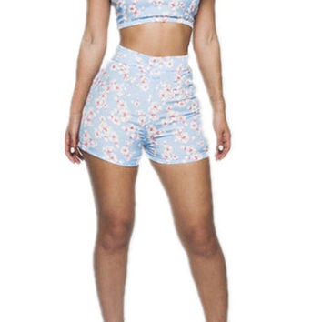 Floral Short Sleeve Bodycon Cropped Top High Waist Shorts Set