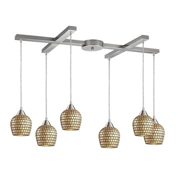 Fusion 6-Light H-Bar Pendant Fixture in Satin Nickel with Gold Leaf Mosaic Glass