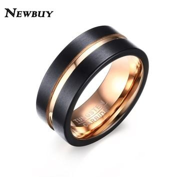 NEWBUY 8mm Wide Fashion Men's Tungsten Ring Black And Rose Gold-color Wedding Band Men Jewelry
