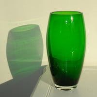 glass vase hand blow  glass vase green vase Makora made in Poland, fall Christmas weddings gift ideas