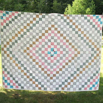 """Vintage handmade quilt with squares arranged in a diamond pattern - Quilted blanket quilted cover coverlet 86"""" x 66"""""""