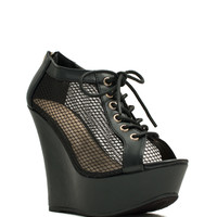 Quit Meshing Lace-Up Bootie Wedges