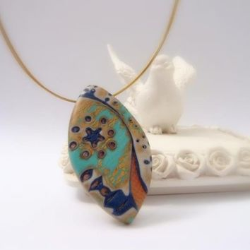 Pendant Moon River  Handmade Polymer clay Jewelry by efiwarsh