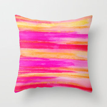 Welcome to Funky Town - Disco Inferno Dance Party Bold Rainbow Stripes Abstract Watercolor Painting Throw Pillow by EbiEmporium | Society6