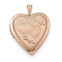 Roy Rose Jewelry Sterling Silver Rose Gold-plated 20mm Double Hearts Heart Locket - Walmart.com