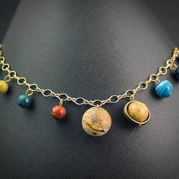 Solar System Charm Bracelet: Gold // Space, Planet, & Science Themed Jewelry // Gemstone Astronomy Gift for Graduate, Teacher, Nerd, Geek
