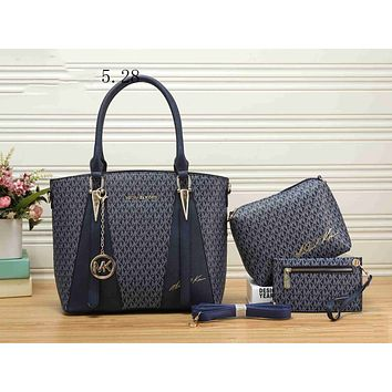 MK Trending Women Stylish Leather Handbag Shoulder Bag Crossbody Purse Wallet Set Three Piece Blue I-KSPJ-BBDL
