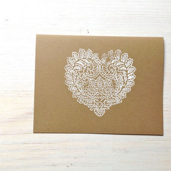 Heart Notecard Set: 5 Cards, With White Envelopes, Wedding, Thank You, Kraft, Stationary, Gift, Blank, Cards, Paper Goods, Supplies