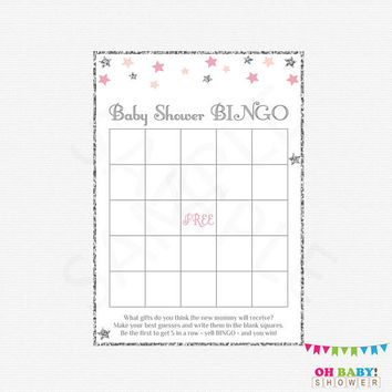 Baby Shower Bingo, Twinkle Twinkle Little Star Baby Shower, Baby Shower Games, Baby Bingo, Pink and Silver, Printable Baby Shower, STPS
