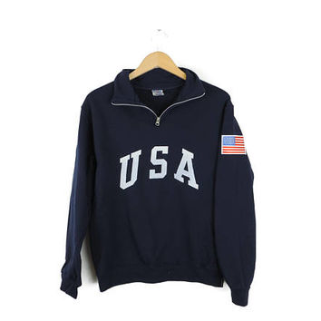 New Retro USA with Flag Patch Quarter Zip Sweatshirt // Size S-3XL // You Pick Color