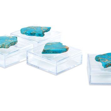 Pill Boxes w/ Turquoise Jasper, Set of 4, Boxes