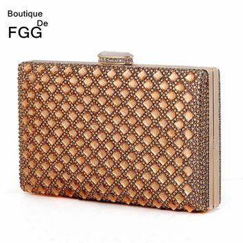 Women's Dazzling Sparkling Hot Fixed Plaid Crystal Evening Handbags Clutches Ladies Wedding Party Cocktail Dinner Clutch Purse