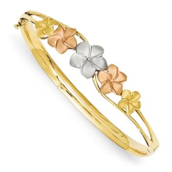 14k Tri-Color Gold Polished and Satin Plumeria Hinged Bangle Bracelet