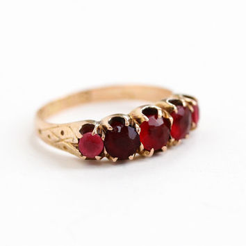 Antique Victorian 9k Rose Gold Simulated Ruby & Garnet Ring - Size 6 Red, Pink Glass Stone Hallmarked English Chester 1884 Fine Jewelry