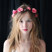 Bridal hair crown, Wedding wreath, Flower crown floral crow, Boho garland, Pink flower crown, Silk Flowers - 'Sweet Pea'