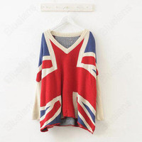 Korean Stylish Women Loose Thicken America Flag Stars & Strip Knit Sweater Shirt