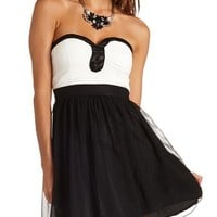 Color Block Pleated Chiffon Strapless Dress