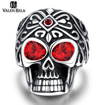 VALEN BELA Red Eyes Skull Unique Star Celebrity Men Ring Punk Style Size 8-12 Man Gift For Best friend Jewelry JZ5489