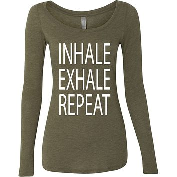 Inhale Exhale Repeat Triblend Long Sleeve Yoga Tee Shirt