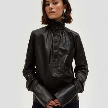 J.W. Anderson / Leather Gathered Collar Top