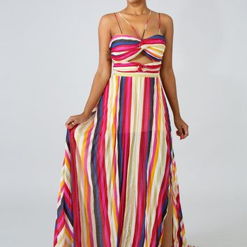 Color Shift Tube Maxi Dress