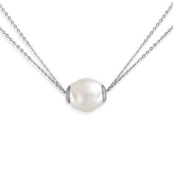 Majorica Plated Sterling Silver Simulated White Baroque Pearl Double Chain Slider Necklace