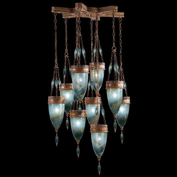 Fine Art Lamps 611040-3ST Scheherazade Nine-Light Pendant in Aged Dark Bronze Finish with Hand Blown Glass in Vibrant Desert Sky Blue Glass Color