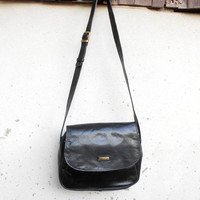 Vintage HENRY SAXEL Black Leather Messenger , Crossbody Bag // Medium // Women