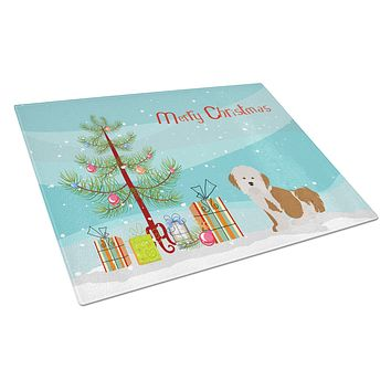 Havanese Christmas Tree Glass Cutting Board Large CK3458LCB