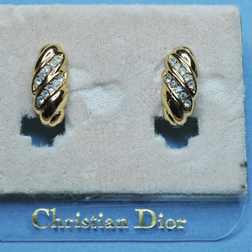 CHRISTIAN DIOR Vintage Gold and Rhinestone Swirled Clip Earrings on Original Store Card, Beautiful & Classic! A504