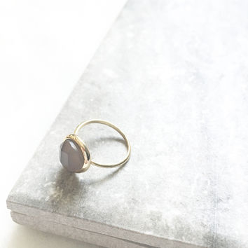 Smoky Gray Teardrop Ring