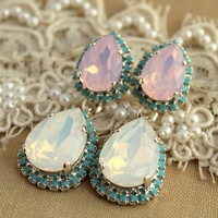 Chandelier earring statement Crystal earrings Silver turquoise pink opal  - 14 k plated gold earrings real Swarovski  crystals.
