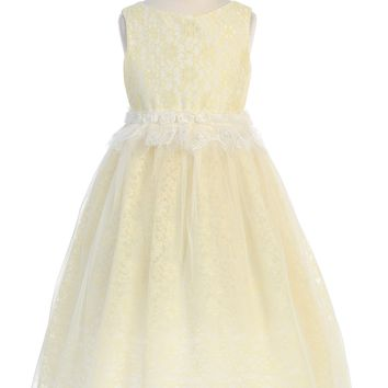 Girls Yellow Lace Heart Open Back Dress w. Mesh Overlay 2T-12