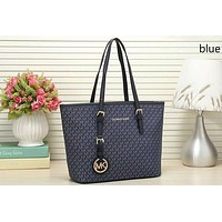 MICHAEL KORS MK Fashionable Women Shopping Bag Leather Handbag Tote Satchel Shoulder Bag Blue