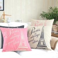 "MagicPieces Cotton and Flax Paris is Always a Good Idea Decorative Pillow Case Cover D 18"" x 18"" Square Shape-18 inches-Paris-Eiffel tower-travel-holiday-memory"
