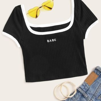 Square Neck Embroidery Letter Rib-knit Ringer Tee