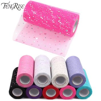 FENGRISE Glitter Sequin Tulle Roll 10 25 yard 15cm Spool Tutu Wedding Decoration Organza Laser DIY Craft Birthday Party Supplies