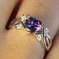 Amethyst (Purple) Heart Shaped Ring