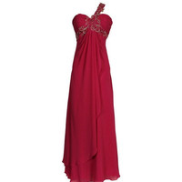 A-line Sweetheart One-shoulder  Floor-length Chiffon  Bridesmaid Dress With Applique Beading  Free Shipping